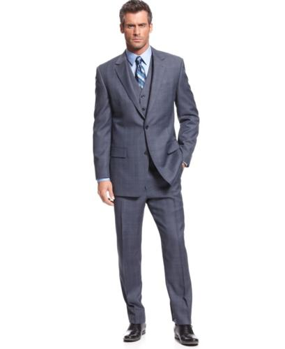 Michael Kors Suit, Navy Sharkskin Windowpane Vested