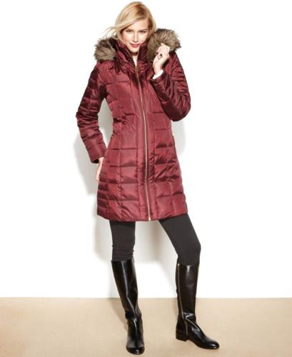 MICHAEL Michael Kors Coat, Hooded Faux-Fur-Trim Puffer for ...