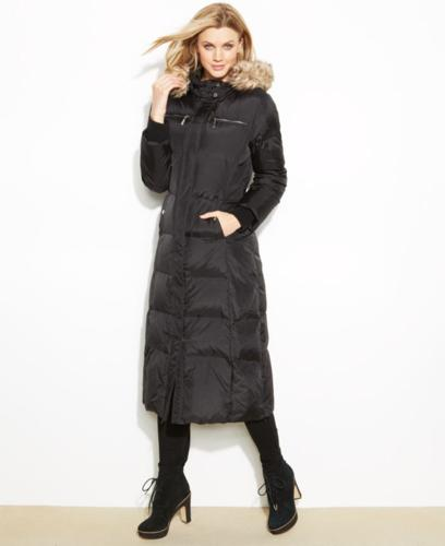 MICHAEL Michael Kors Hooded Faux-Fur-Trim Maxi Puffer Coat ...