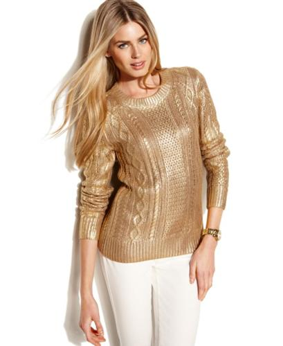 MICHAEL Michael Kors Sweater, Long-Sleeve Metallic