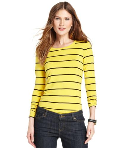 MICHAEL Michael Kors Top, Long-Sleeve Striped Crew-Neck