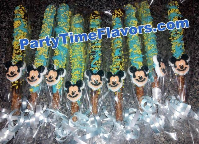Mickey Mouse Chocolate Covered Pretzel Baby Shower Favors For Sale