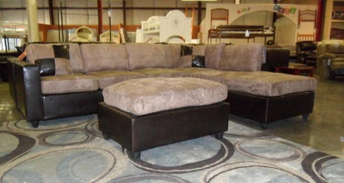 **MICROFIBER** SECTIONAL SOFA/COUCH WITH OTTOMAN -