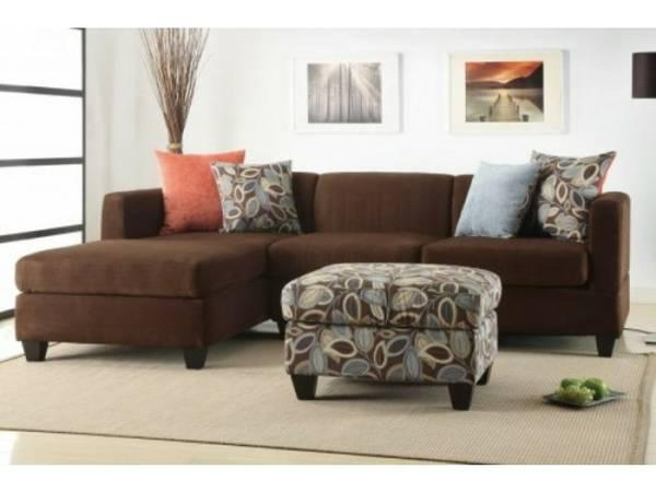 Microfiber Sectional Sofa In Brown Or Grey For Sale In Las