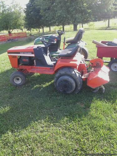 Mid 80 39 s allis chalmers garden tractor mower deck snow thrower tiller for sale in gardners for Used garden tractors for sale near me