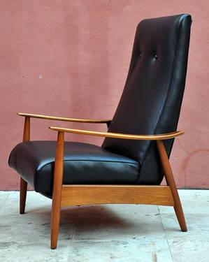 Mid century danish modern milo baughman recliner lounge for Mid century furniture florida
