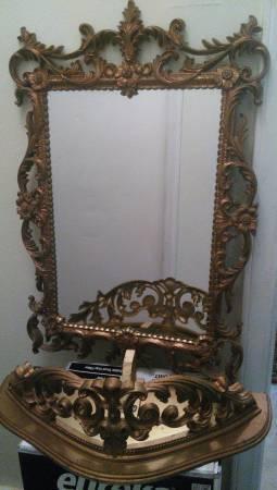 Mid Century Gold Framed Mirror W Shelf Turner Wall