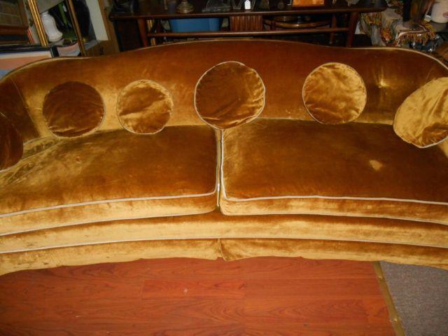 Mid Century Henredon Crushed Velvet Sofa Gold For Sale