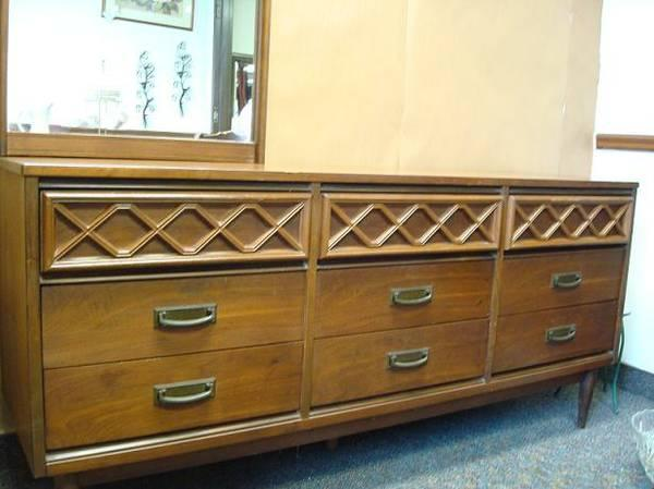 Mid century modern 9 drawer dresser w mirror for sale in for Mid century furniture florida