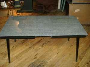 Mid century modern black dining table vintage formica for Kitchen cabinets quakertown pa