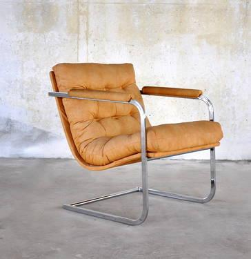 Mid century modern chrome cantilever scoop lounge chair for Mid century furniture florida