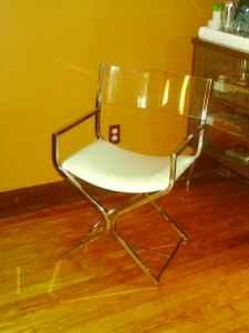 Mid Century Modern Lucite And Chrome Directors Chair
