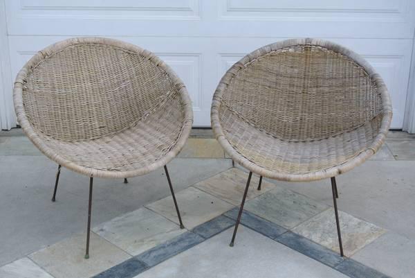 Mid Century Modern WICKER Pod Chairs   $75