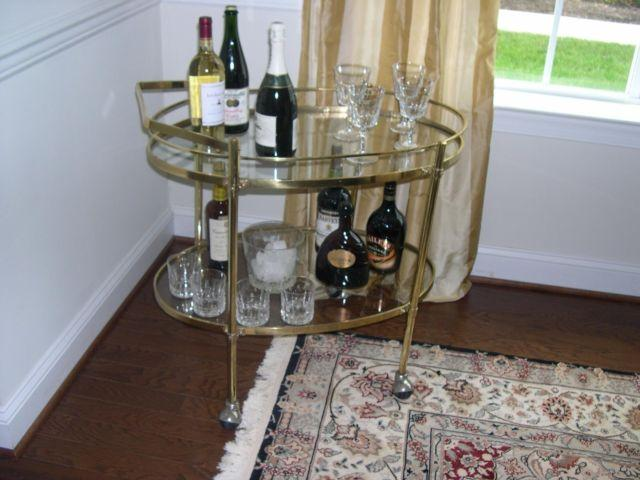*** Mid Century Oval Brass/Glass Bar Cart***