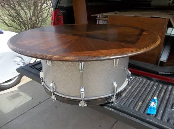 MIDCENTURY VINTAGE LANE INLAID WALNUT BASS DRUM COFFEE TABLE ONE OF - Bass coffee table