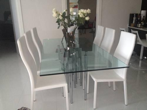 Mille Glass Dining Table With 6 White Bonaldo Milena