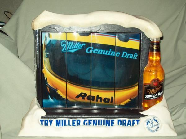 MILLER GENUINE DRAFT NASCAR LIGHTED SIGN THREE ROTATING SCREENS RAHAL - $75