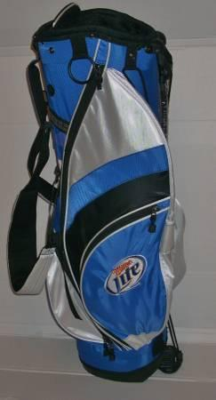 MILLER LITE GOLF BAG, BALLS, PINK HAT, TOWEL & TEES -