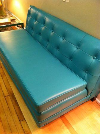 Mint 39 69 Mid Century Turquoise Blue Leather Sofa