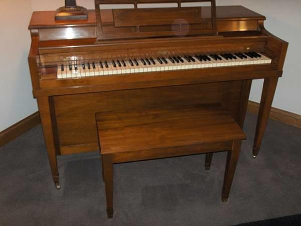 Mint Cond - Walnut, Winter Console Piano and Piano Bench w 10 Books