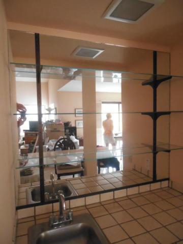 Mirror and shelves for wet bar