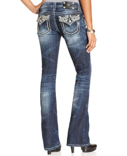 Miss Me Jeans, Bootcut-Leg Studded, Medium Wash