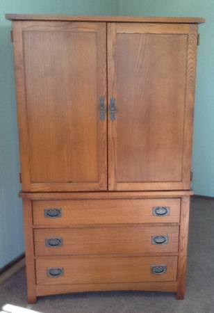 Beau Mission Armoire Solid Oak By Bassett   $200
