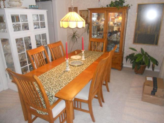 Mission dining table 6 chairs and china cabinet for Sale