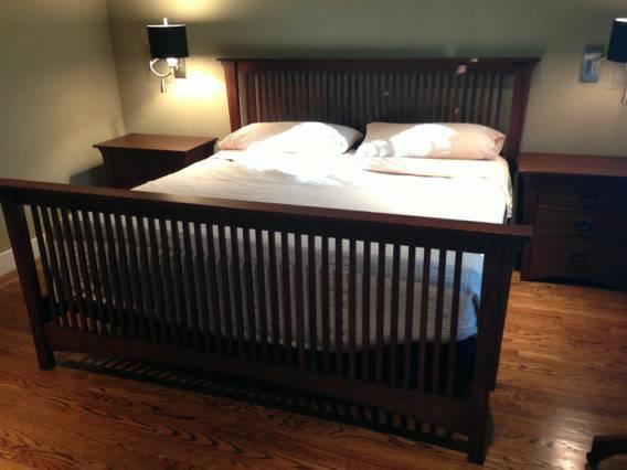 Mission Style Bed Frame And Matching Night Stands Solid