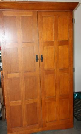 Mission style solid Oak Computer Armoire - $500
