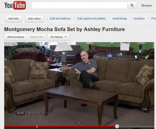 Mocha sofa with wood trim accents video overview for Furniture zanesville ohio