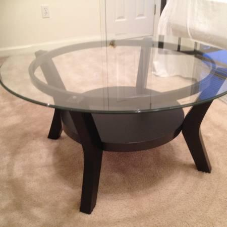 Modern Black Coffee Table And Round Glass Coffee Table