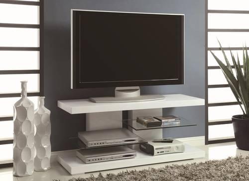 Modern Contemporary White Tv Stand W Alternating Glass Shelves