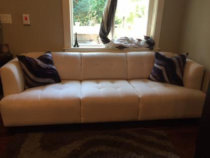 Modern Cream Tufted Sofa with Espresso Legs from Macy's