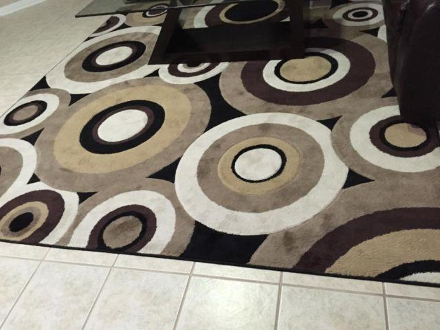 Modern Living Dinning Area Rug Circles Brown Black Home