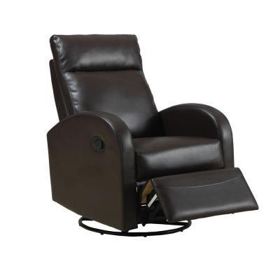 monarch specialties dark brown bonded leather swivel rocker recliner