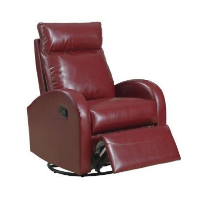 Monarch Specialties Red Bonded Leather Swivel Rocker