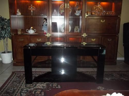 Monarch Specialties Tempered Glass Tv Stand Black Tint Paid New