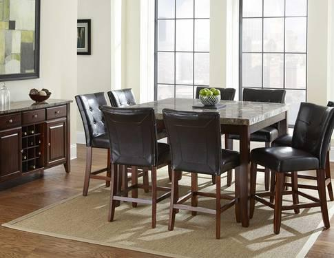 montibello marble top dining room set table 8chairs server for sale