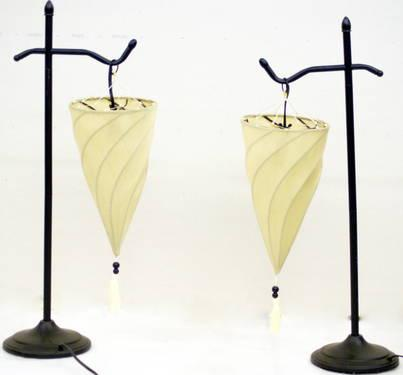 Moroccan Spiral Desk Table Lamps With Upside Down Hanging Shade For Sale In Tempe Arizona