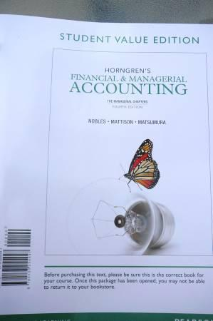 MSU Book: Financial & Managerial Accounting - $80