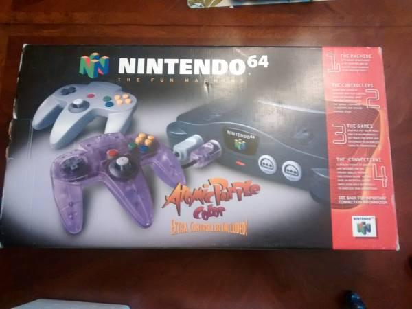 n64 atomic purple controller set in box - $100