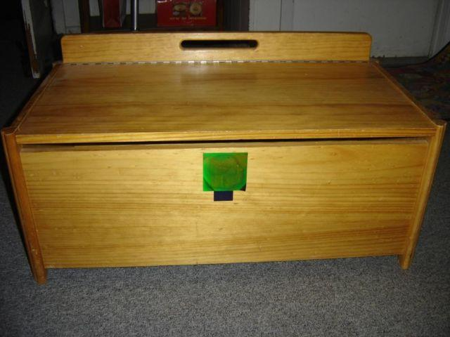 NATURAL FINISH WOODEN TOY CHEST $75 OR BEST OFFER