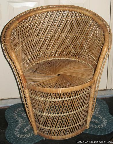 Natural Wicker Fan Back Chair Photos Porch Sun Room Bedroom Garden VERY N