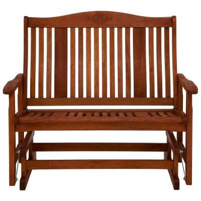 Natural Wood Patio Double Glider