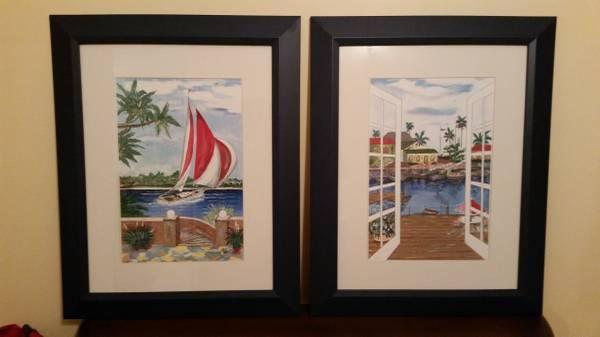 Navy Blue Wood Framed Art Sailboat Beach Water Picture