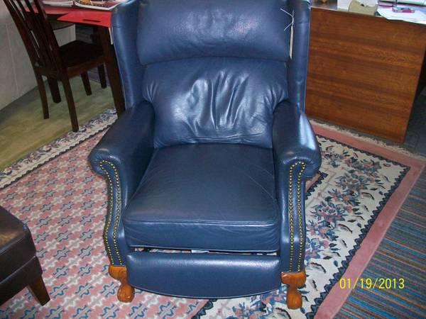Navy Leather Wing Back Recliner   $250