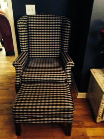 Navy Plaid Gingham Print Wing Back Chair With Ottoman