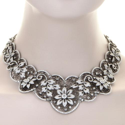 Necklaces Women's 18K White Gold Diamond Lace Collar
