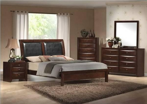 NEW- KING PADDED LEATHER LOW PROFILE 5-Pc Bedroom Set -